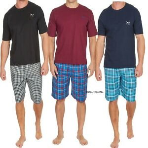 Mens-Pyjamas-Cotton-T-Shirts-with-Woven-lounge-Shorts-Set-new-twill-logo