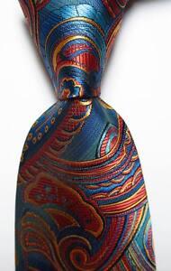 New-Classic-Paisley-Navy-Red-Gold-JACQUARD-WOVEN-Silk-Men-039-s-Tie-Necktie