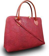 Ital. Schultertasche Shopper Damentasche Schlangenhaut Optik  Rot Leder