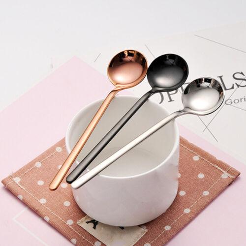 Mignon Acier Inoxydable Café Cuillère Mini Rond Glace Dessert Mélange Mélanger Cuillères à soupe
