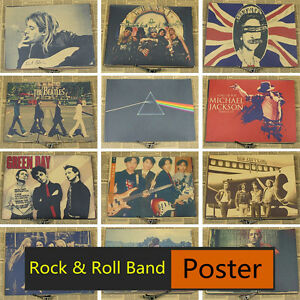 New Music Rock Band Stars Vintage Kraft Paper Poster Bar Pub Wall Sticker Decor