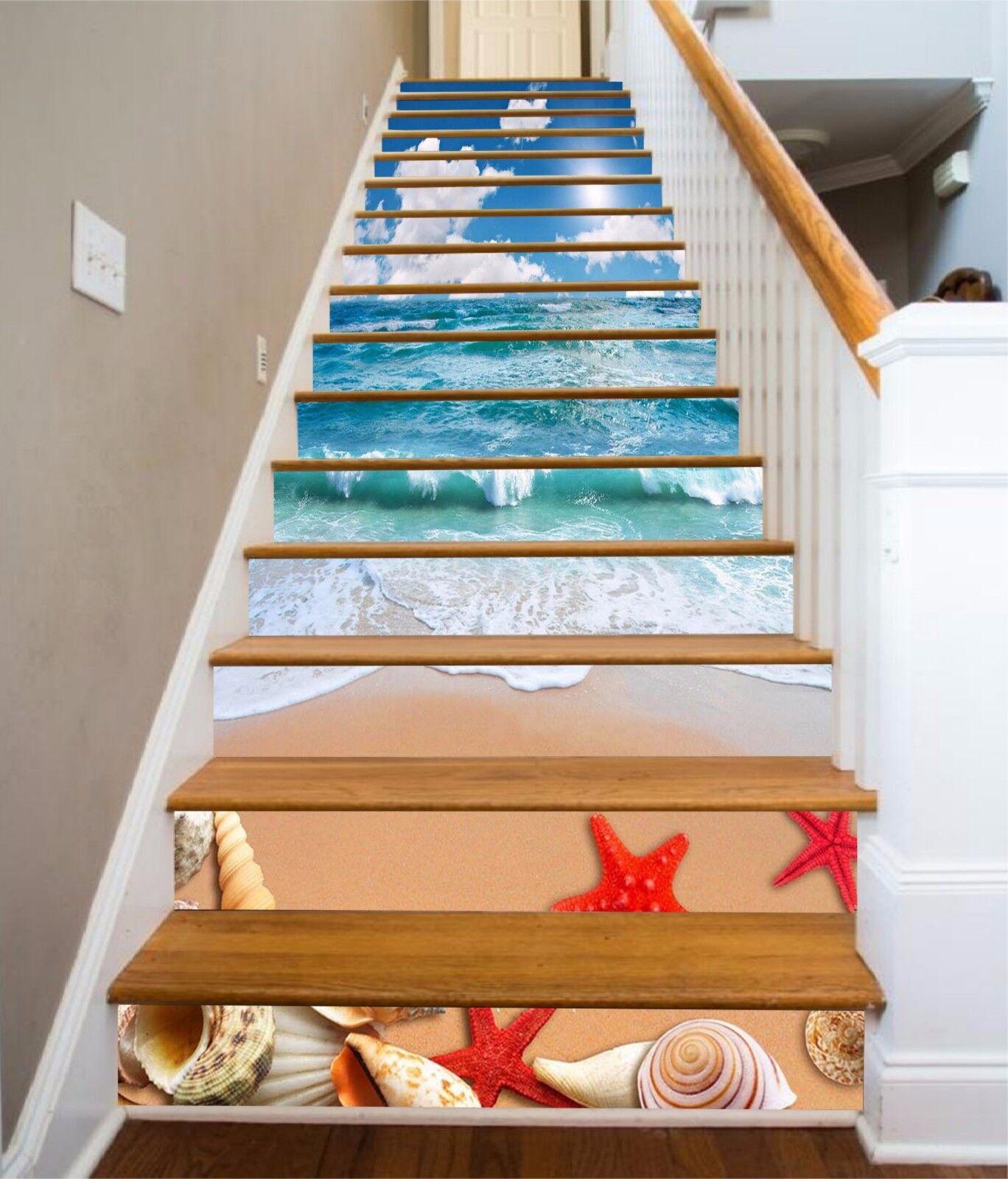 3D  Waves Beach 793 Stair Risers Decoration Photo Mural Vinyl Decal Wallpaper AU