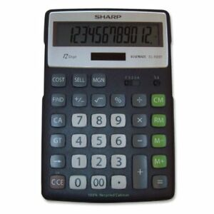 Sharp Elr297 Recycled Calculator - 12 Character[s] - Lcd - Solar, Battery