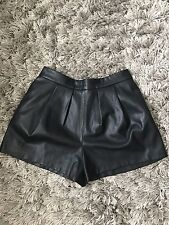 ZARA Black High Waisted Leather Smart Work Office Holiday Shorts XL UK 14/16