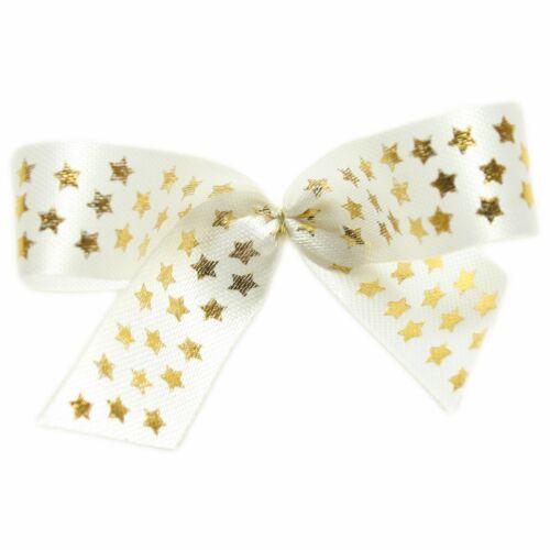 Fertigschleifen mit 6cm Goldclip aus Taftband mit Sterne 10 Stück