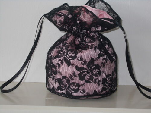 eveningwear prom// Goth Black lace and soft pink dolly bag Bridesmaid