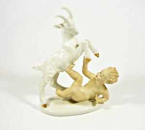WALLENDORF-PUTTI-BOY-PLAYING-WITH-A-GOAT-8-034-HANDPAINTED-PORCELAIN-FIGURINE