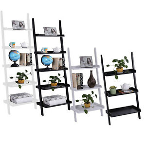 3-amp-5-Tier-Wooden-Wall-Rack-Leaning-Ladder-Shelf-Unit-Bookcase-Display-UK-Stock