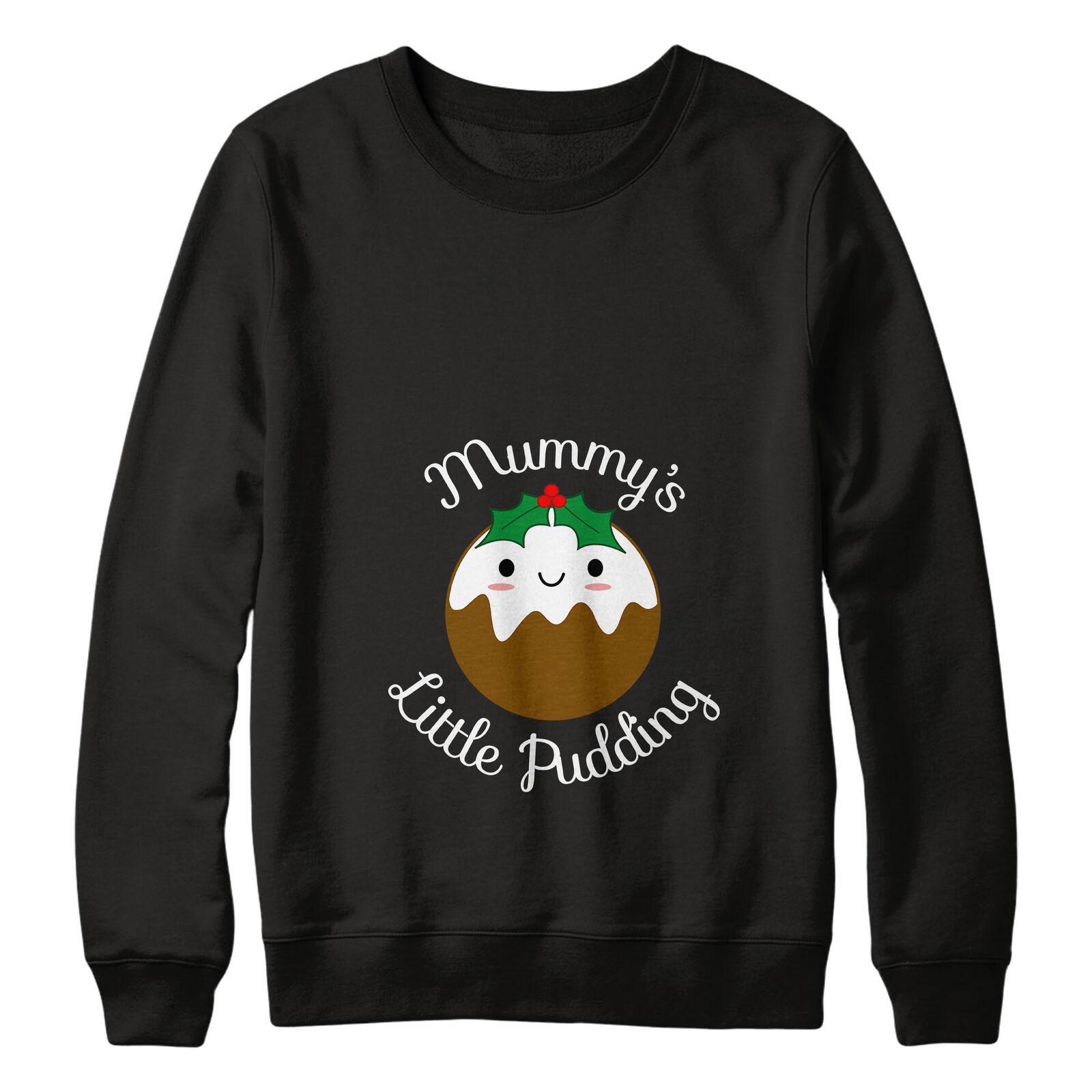 Mummy's Little Pudding Christmas Jumper Sweatshirt Women Pregnant Maternity L164