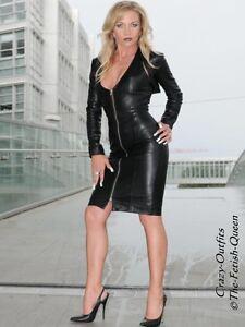 noir sur mesure Robe Halter Robe Longueur cuir cuir en genou en Fait au KlJFT1c