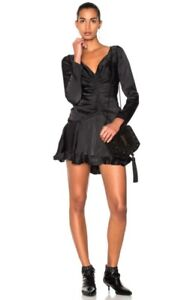 Zimmermann-Ruched-Mini-Dress-Black-Shiny-Viscose-Open-Back-Ruffle-500-RRP