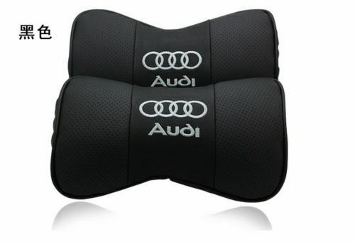2Pc Real Leather Car Seat Neck Pillow Car Headrest Fit For Audi Car Black Color
