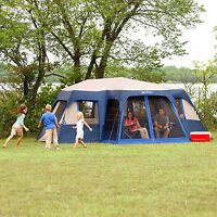 Large Camping Tent 12 Person Instant 18' X 16' Screen Room Family Cabin Blue