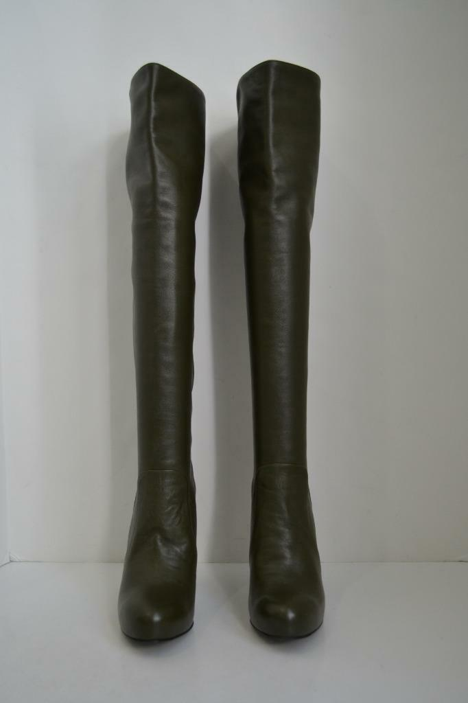Dolce & Gabbana Olive Grün  Leder Over the Knee Heel High Heel Knee Stiefel/schuhes Sz 38.5 4708f7