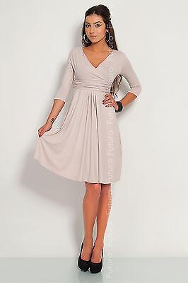 Classic & Elegant Women's Dress V-Neck Cocktail Jersey Office Size 8-16 4400