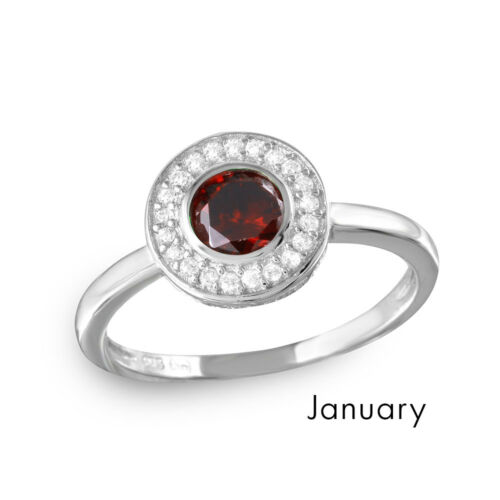 Sterling Silver Halo Ring w// Clear /& Birthstone Colored CZ Stones