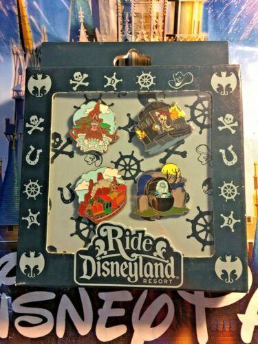 2009 RIDE DISNEYLAND ATTRACTION MINI 4 PIN BOX SET Disney Splash Thunder Mansion