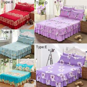 Cotton-Fabric-Floral-Bedspread-Bed-Skirt-Cover-Sheet-Pillowcase-Queen-Size-Decro