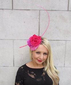 Hot Light Pink Rose Quill Feather Flower Fascinator Hat Hair Clip Races Vtg 3318