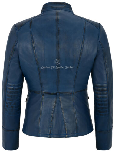 in Victoire pelle da militare donna Giacca stile Sweet Bleue 8976 Real Lamb gnfawdq