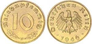 Allied Occupation 10 Pfennig 1946 D Probe IN Iron (43518)