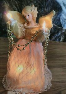 Trim-A-Home-10-Inch-Light-up-Angel-Christmas-Tree-Top-w-10-Lights-amp-Gold-Gown
