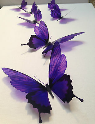 7 Deep Purple in Flight 3D Butterflies Wall Mounted Butterfly Art Accessories