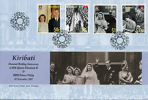 Kiribati 2007 FDC Diamond Wedding Queen Elizabeth II & Philip 4v Cover Stamps