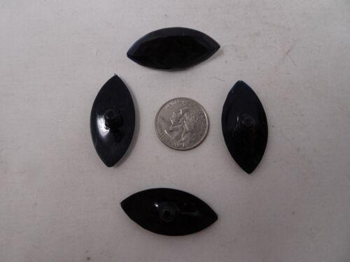 Vintage Black Beveled Leaf Shaped Post Button 40mm x 19mm Lot of 6 B510-6
