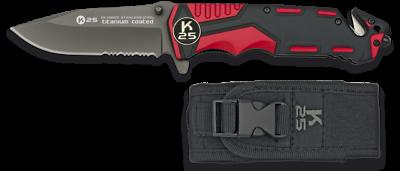 19653 Couteau Pliant K25 Rouge/noir. Scie.