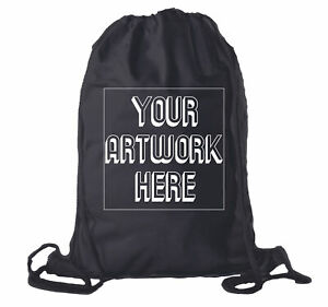 7c2cf6b35f65 Details about Personalized Cotton Drawstring Backpacks, Your logo here  Custom Cinch Sacks