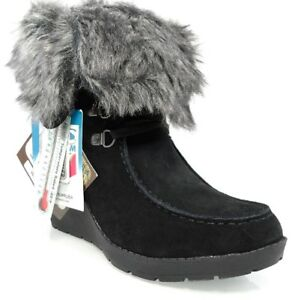 7fba01cd063 NIB KHOMBU SLIDE FUR WATERPROOF INSULATED ANKLE WEDGE LACE UP BOOTS ...