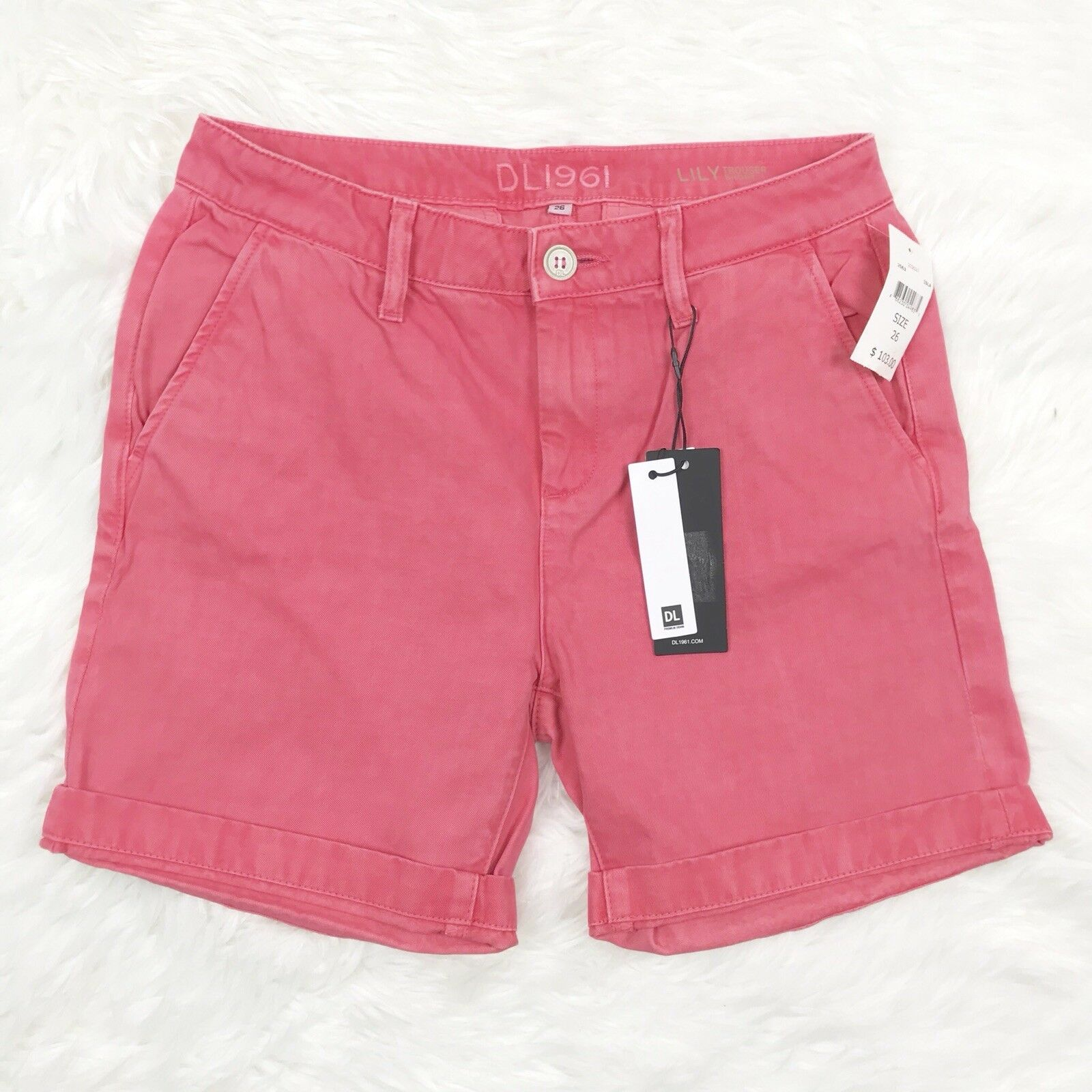 DL1961 Womens Size 26 Solid Pink Denim Jean Shorts Lily Trouser Short NWT  103