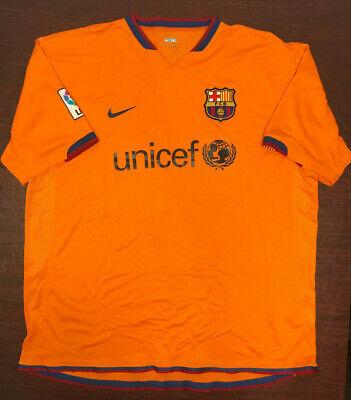 Fcb Barcelona Soccer Nike Dri Fit Authentic Orange Jersey Unicef Xxl Ebay