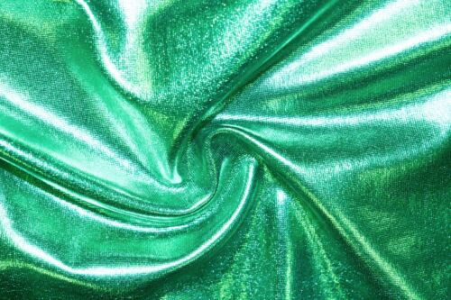 Green Shiny Pleather Faux Leather Stretch Polyester Lycra Spandex Fabric BTY