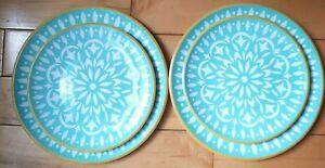 Melamine-Mud-hut-Salad-amp-Dinner-Plates-Aqua-Blue-White-Yellow-Lot-Of-4-Plates