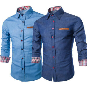 Men-Denim-Jeans-Shirt-Casual-Long-Sleeve-Slim-Fit-Cotton-Tops-Shirts
