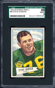 1952-Bowman-Small-40-Steve-Dowden-SGC-88-NM-MT-Centered-amp-Exceptional-Packers