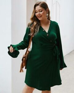 Cocktail-Long-Dresses-Womens-Plus-Size-Maxi-Long-Sleeve-Loose-Dress-Party-V-Neck