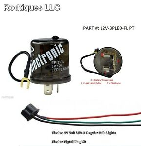 12 Volt 3 Prong Turn Signal Flasher Kit For Hot Rod Universal Kit ...