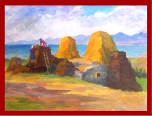 1950s Socialist Realism Painting COLLECTIVE FARM Russian ARMENIAN- E. Abrahamyan