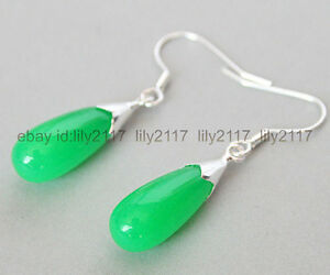 Pretty Green Jade Gemstone Silver Hook Dangle Eardrop Earrings Jewelry