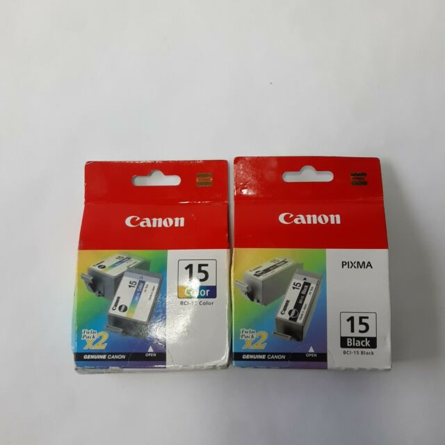 2 Canon BCI-15 Twin Pack Ink Cartridges Black Color i70 i80 New Sealed