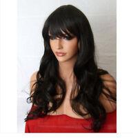 New Full Women Fashion Hair Wig Long Wavy Fringe Dark Brown Black Lady Wig