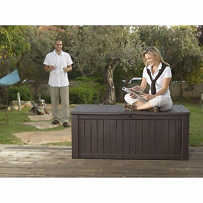 Keter Rockwood Huge Plastic Garden Storage Deck Box 570 Litre Capacity XL Size