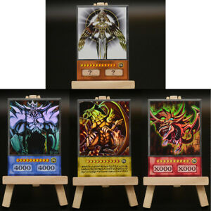 Yugioh-ORICA-4x-Set-God-Cards-Holactie-Holo-Custom-Anime-Slifer-Obelisk-Ra