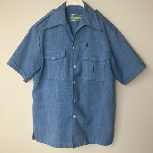 Vintage Waltah Clarke M Hawaiian Shirt Blue Pocket