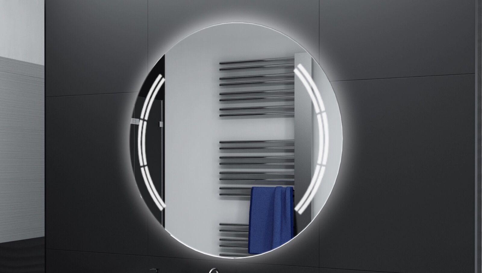 Badspiegel Rund m LED Beleuchtung Badezimmerspiegel Bad Spiegel Wandspiegel DR16