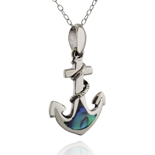Ancre Collier-Argent Sterling 925-Abalone Accents Pendentif nautique Ancres