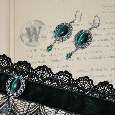 Kreativ Halsband Spitze Federn Grün Samtband Gothic Glasstein Set Ohrringe Versilbert